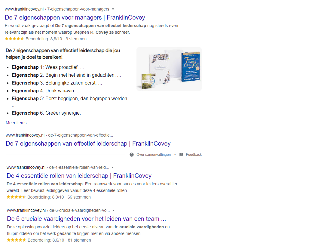 FranklinCovey SEO Rich Snippets